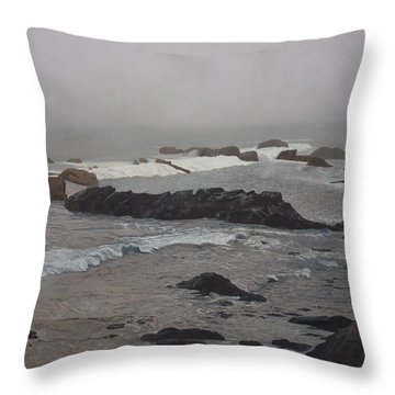 Misty Morning At Ragged Point, California Throw Pillow by Barbara Barber
