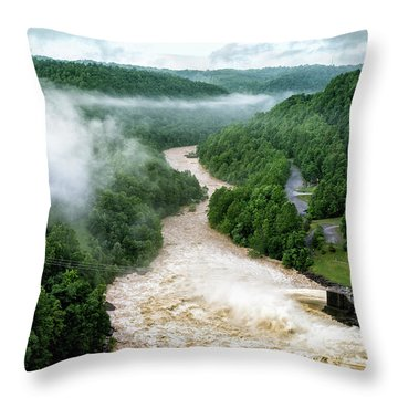 Misty Morning At Summersville Lake Dam Throw Pillow