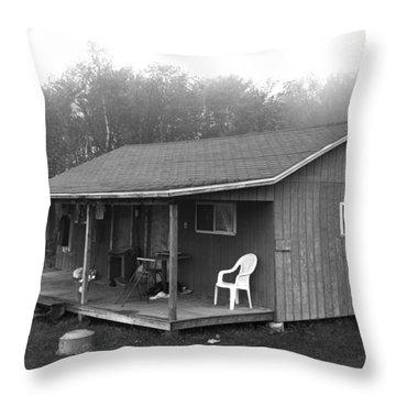 Misty Morning At The Cabin Throw Pillow