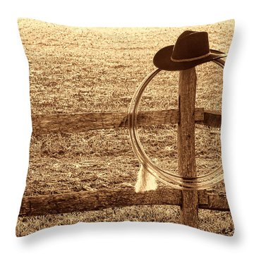 Misty Morning At The Ranch Throw Pillow
