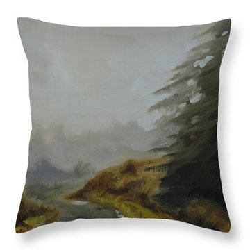 Misty Morning, Benevenagh Throw Pillow by Barry Williamson