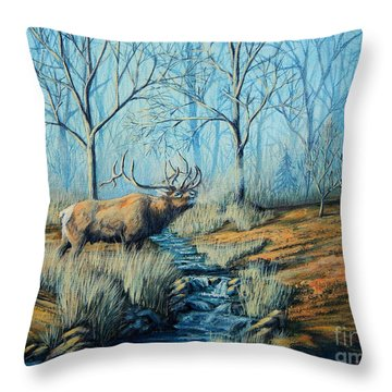 Misty Morning Bugler Throw Pillow by Ruanna Sion Shadd a'Dann'l Yoder