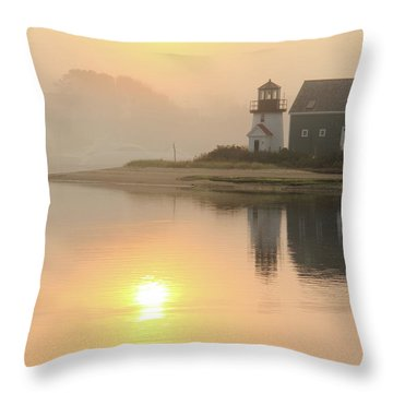Misty Morning Hyannis Harbor Lighthouse Throw Pillow