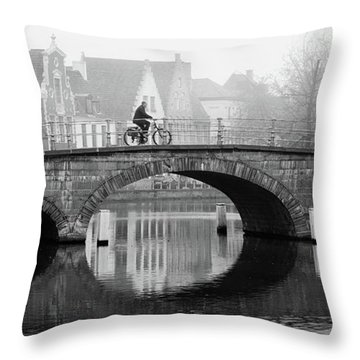 Misty Morning In Bruges  Throw Pillow
