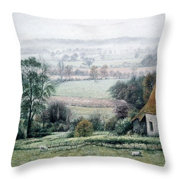 Misty Morning In The Weald Throw Pillow