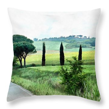 Misty Morning In Umbria Throw Pillow