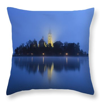 Misty Morning Lake Bled Slovenia Throw Pillow