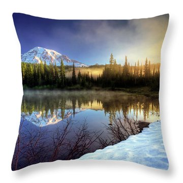 Misty Morning Lake Throw Pillow