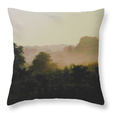 Misty Morning Maryland Landscape Original Fine Art Painting Throw Pillow