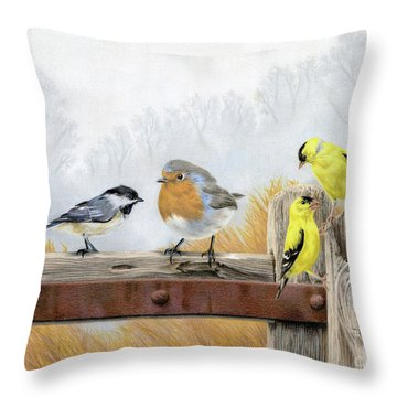 Misty Morning Meadow Throw Pillow