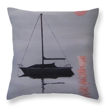 Misty Morning Mooring Throw Pillow