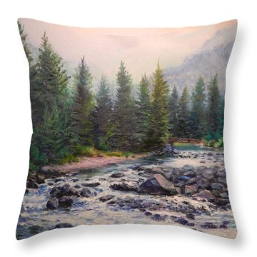 Misty Morning On East Rosebud River Throw Pillow by Patti Gordon