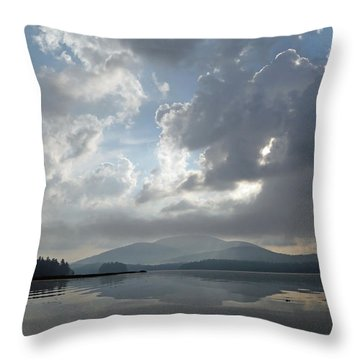 Misty Morning On Long Lake Throw Pillow