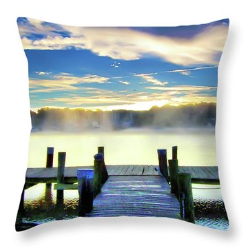 Throw Pillow featuring the photograph Misty Morning On Rock Creek by Brian Wallace