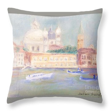 Throw Pillow featuring the painting Misty Morning On The Canale Grande by Barbara Anna Knauf