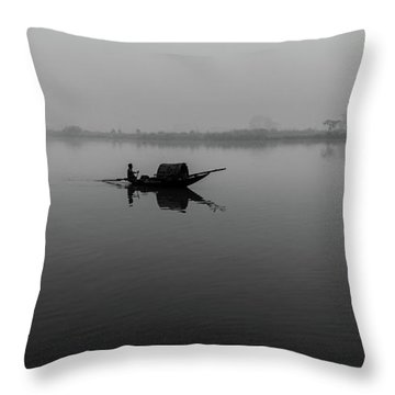 Throw Pillow featuring the photograph Misty Morning On The Lower Ganges by Chris Cousins