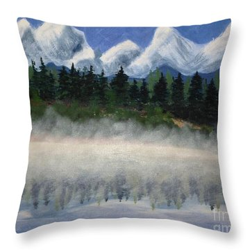Misty Morning On The Mountain Throw Pillow