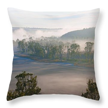 Misty Morning On The Murray Throw Pillow by Bill  Robinson