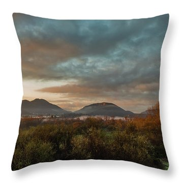 Misty Morning Over The San Diego River Throw Pillow
