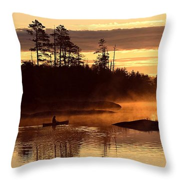 Misty Morning Paddle Throw Pillow