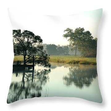 Misty Morning Pond Throw Pillow