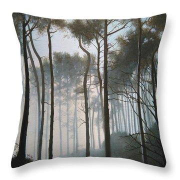 Misty Morning Walk Throw Pillow
