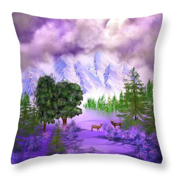 Misty Mountain Deer Throw Pillow