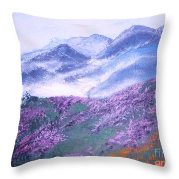 Throw Pillow featuring the painting Misty Mountain Hop by Donna Dixon