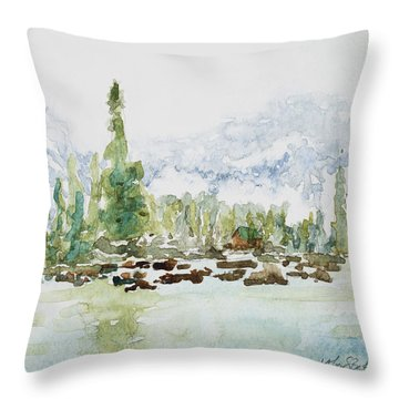 Misty Mountain Lake Throw Pillow by Mary Benke