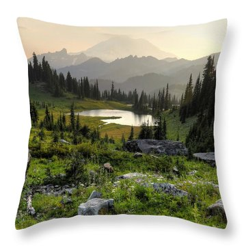 Misty Mountain Landscape Throw Pillow