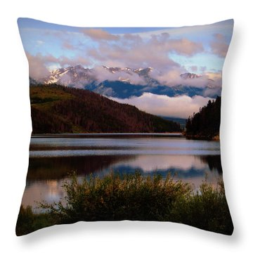 Misty Mountain Morning Throw Pillow