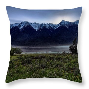 Throw Pillow featuring the photograph Misty Mountain Morning Meadow  by Darcy Michaelchuk
