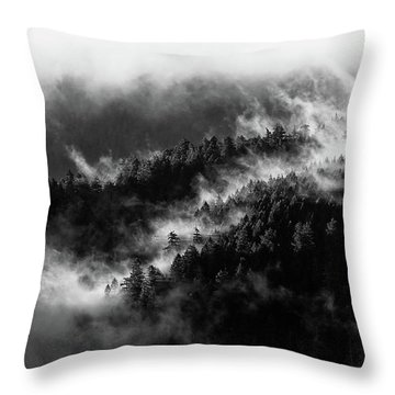 Throw Pillow featuring the photograph Misty Mountain Pines by Michael Hope
