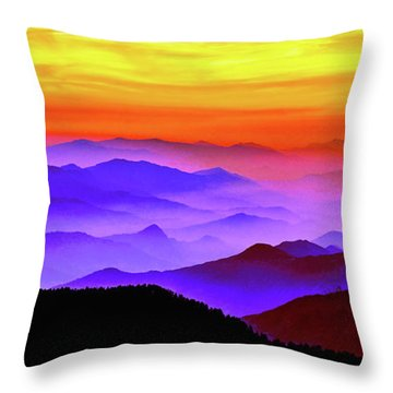 Throw Pillow featuring the mixed media Misty Mountains Sunset by Susan Maxwell Schmidt