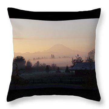 Misty Mt. Rainier Sunrise Throw Pillow