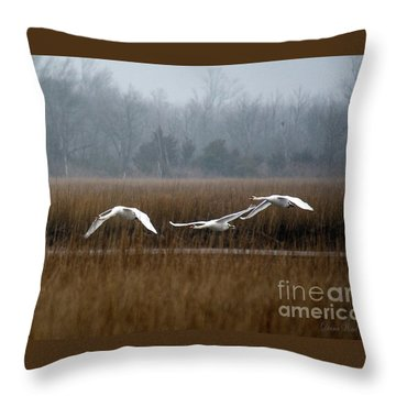 Misty Mute Swans Soaring South Jersey Wetlands Throw Pillow by Diana Wind