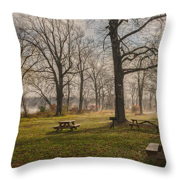 Misty November Picnic Grove Throw Pillow