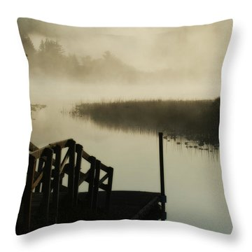 Misty Oregon Morning Throw Pillow