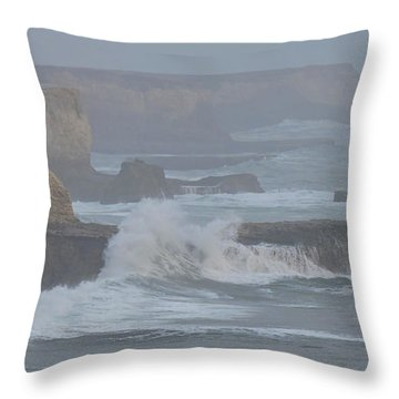 Misty Pacific Cliffs Throw Pillow