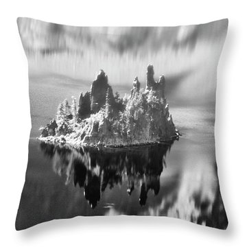Throw Pillow featuring the photograph Misty Phantom Ship Island Crater Lake B W  by Frank Wilson