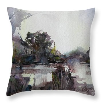 Throw Pillow featuring the painting Misty Pond by Geni Gorani