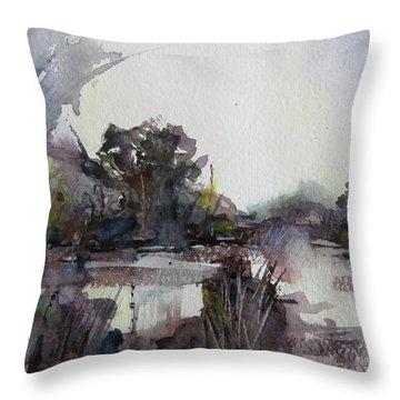 Misty Pond Throw Pillow