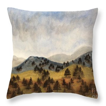Misty Rain On The Mountain Throw Pillow