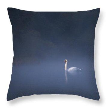 Misty River Swan Throw Pillow