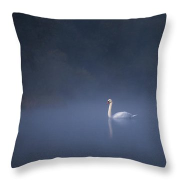 Misty River Swan Throw Pillow
