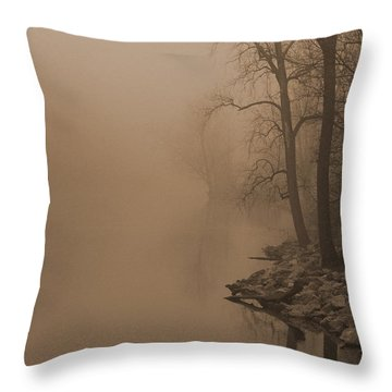 Misty River - Vintage  Throw Pillow