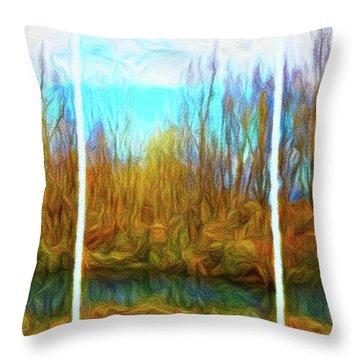 Misty River Vistas - Triptych Throw Pillow
