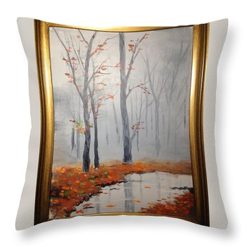Misty Stream In Autumn Throw Pillow