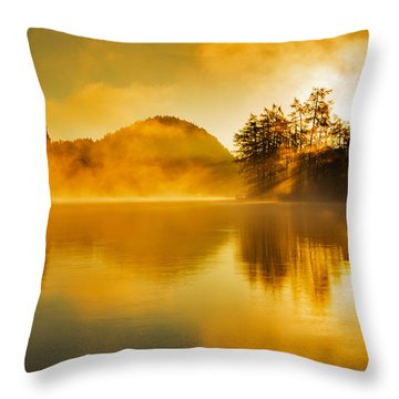 Misty Sunrise At Lake Bled Throw Pillow