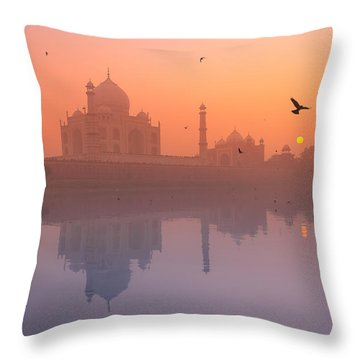 Misty Sunset Throw Pillow by Marji Lang